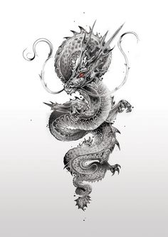 japanese tattoos meaning Dragon Tattoo Drawing, Dragon Tattoos For Men, Dragon Sleeve Tattoos, Japanese Dragon Tattoos, Dragon Tattoo Designs, Tattoo Drawings, Body Art Tattoos, Arabic Tattoos, Tattoo Ink