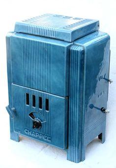 Blue Art Deco stove www.vintageclothin.com