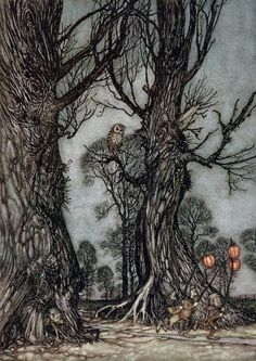 Peter Pan in Kensington Gardens illustrated by Arthur Rackham (1867 - 1939).