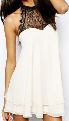 White Chiffon & Black Lace Dress