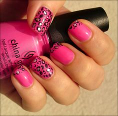 Pink Leopard French Manicure
