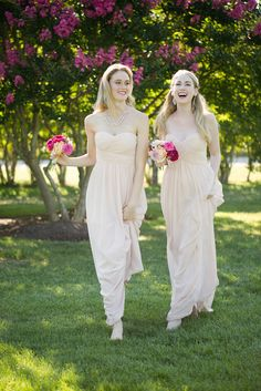 Strapless bridesmaids dresses by Donna Morgan