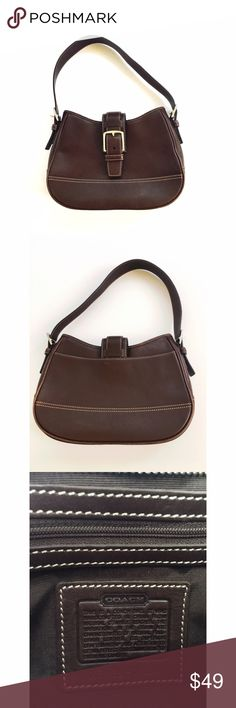 "COACH brown leather handbag purse bag Model is H2S-7584. 9"" width at the top, 11"" in the middle and 9.5"" at the bottom. Height is 7"" in the middle and 7.5"" on the sides. Strap drop is 8.25"". There are scuffs/scratches that you can see when you zoom in on photos. I imagine this will look pretty with some leather conditioning, I just don't have time so I'm selling as is. Also wear on the edges. No hangtag. Coach Bags Shoulder Bags"