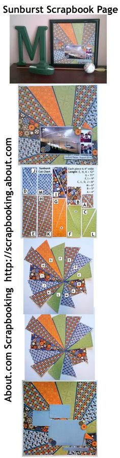 Sunburst Scrapbook Page Idea Using Boy Themed Patterned Paper: Pin It! Compiled Photos for Easy Pinning