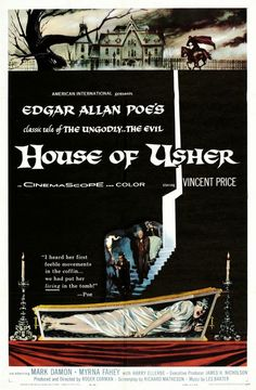 Another poster for HOUSE OF USHER (1961) stressing the fear of being buried alive, like THE PIT AND THE PENDULUM (1961)
