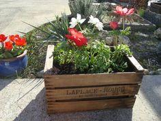 Une petite jardinière dans une cagette en bois! 20 idées inspirantes... Deco Floral, Planter Boxes, Go Green, Exterior Design, Palette, Woodworking, Flowers, Outdoor, Inspiration