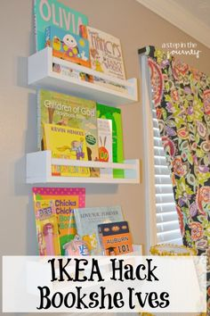 ikea hack bookshelves made from spice racks by @Stepnthejourney - not exactly a book activity but to grow readers you need books in the kids' rooms!
