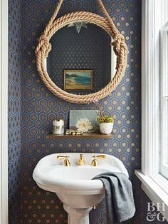 Add a little pizzazz to your bathroom with color. We've rounded up our favorite tips for bathroom color including bathroom ceiling paint and bathroom tile color. These tips will help you choose the best bathroom color for your home. Add a little pizzazz Nautical Bathrooms, Small Bathroom, Diy Bathroom Ideas, 1950s Bathroom, White Bathroom, Master Bathroom, Bathroom Furniture, Bathroom Interior, Antique Furniture