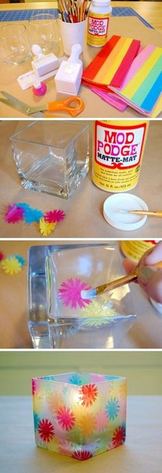 Cut out shapes of any kind out of tissue paper and glue with a paint brush onto a glass candle holder using modge podge glue. Then let it dry. They make great gifts!