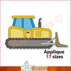 Bulldozer Applique Design. Machine embroidery design. 17 sizes. Bulldozer embroidery design. Dozer applique design. Dozer embroidery design. by JLdizains on Etsy