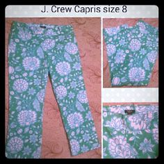 J. Crew capris size 8 floral Great condition! Green with white and turquoise! J. Crew Pants Capris