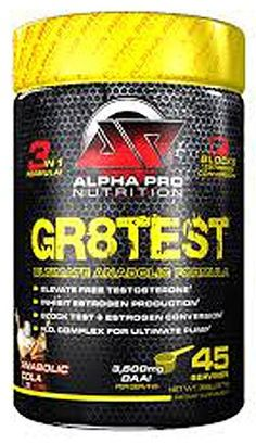 Alpha Pro Nutrition Gr8test - A 3 prong testosterone and anabolic formula that increases test levels, inhibits estrogen production and increases nitric oxide levels for crazy muscle pumps!  Bodybuilding Supplements, Brands, Shake Recipes and Specials... BodybuildingSupplements101.com: #1 Bodybuilding Supplements SuperStore and Information Portal!