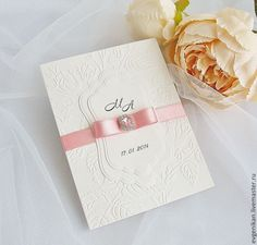 """Купить Приглашения на свадьбу """"Мари"""" - розовый, приглашения на свадьбу, пригласительные, приглашения ручной работы, пригласительное"""