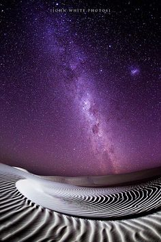 Mystic earth home • photo by John White of South Australia • sand dunes under a cosmic night sky with stars
