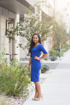 Royal Blue Solid Dress by Charlotte Mynt