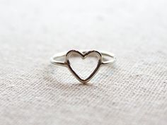 Open Heart Ring//Argentium Sterling by BruteBeauti on Etsy