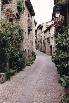 A narrow street in a little village in the Pyrenees Mountains of Spain ... so quiet and untouched looking