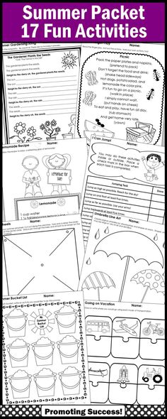 Summer Activities for Kids: Students will create a summer collage, write a summer bucket list, make a fan, read and make a lemonade recipe, act out a finger play, list summer safety rules, make a pin wheel, plan a vacation, tell a fish story and more! https://www.teacherspayteachers.com/Product/Summer-Activities-Packet-1866560
