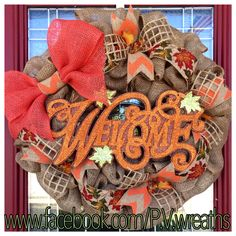 Welcome Fall wreath  Fall wreath  Autumn by PVwreathsByMelissa, $60.00