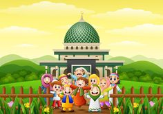 Happy kids cartoon celebrate for eid mubarak in the park with mosque Vector Crab Cartoon, Cartoon Kids, Background Images Wallpapers, Wallpaper Backgrounds, Vector Background, Ied Mubarak, Ramadan Mubarak, Mosque Vector, Mosque Silhouette