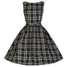 Audrey' Tastefully Tartan Perfectly Plaid 50's Swing Dres ($34) ❤ liked on Polyvore featuring dresses, audrey, black, plaid skater skirt, black dress, skater skirt, plaid dress and black evening dresses