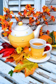 Very Fall Appropriate Teapot and Cup