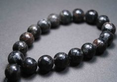 Black Labradorite Wrist Mala Prayer Beads Bracelet by QuietMind, $20.00