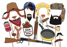 Hillbilly Redneck Photo booth Props Party Set by TheQuirkyQuail