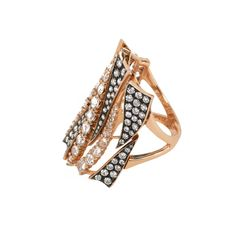 Modern Design Ring with Pave and Rose Cut Champagne Diamonds in Rose Gold