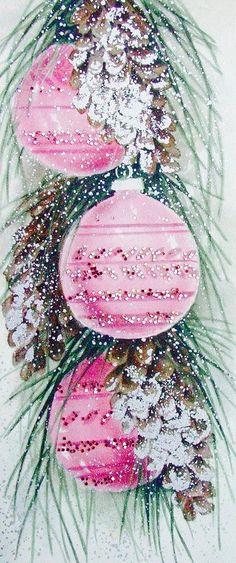 Mid-century Modern Christmas Card. Retro Christmas Ornaments. Pink Christmas Ornaments. Vintage Christmas Card.