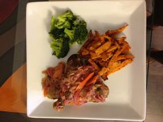 Senegalese style chicken yassa, oven roasted sweet potatoes and steamed broccoli
