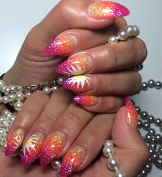 Glitter ombré nails    Pink Coral Neon Lemon Yellow    Spring Summer Nails    Almond Stiletto Nails