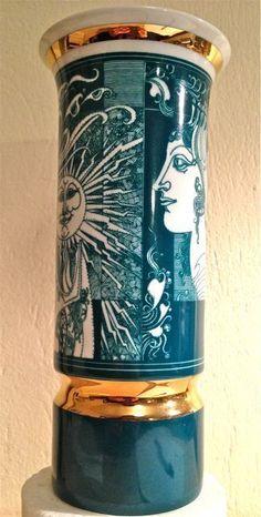 Endre Szasz Green and Gold Vase for Hollohaza, Hungary, 20 cm high Gold Vases, Green And Gold, Hungary, Ebay, Design, Vases, Design Comics