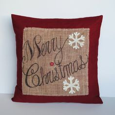 One u0027Merry Christmasu0027 Snowflake Pillow cover, 20x20, holiday pillow,  decorative pillow