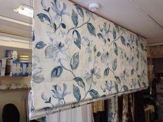 Curtain Cox's beautiful blind creation, featuring our Siricusa Indigo fabric, looks fab! Beautiful Blinds, Prestigious Textiles, Valance Curtains, Indigo, Upholstery, Windows, Fabric, Home Decor, Tejido
