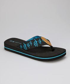 Take a look at this Black & Turquoise Turtle Flip-Flop by Raya Sun on #zulily today!