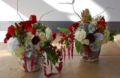 birch bark wedding centerpieces winter Too much red?