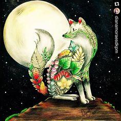 Noite de lua cheia.  #colorindolivrostop #colorindoomundofashion #nacionaltopfashion  #sorteio #lobo #florestaencantada #livrodecolorir #johannabasford #meucolorido #antiestresse #amopintar #faber_castell_br #acrilex_oficial #follow4follow #like4like #instalike #instadaily #followme #instagood #follow #florestaencantadadkpm #trocolikes #likeforlike #instalove #instaDKPM #instapopular #instapic