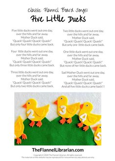 Five Little Ducks Preschool Felt Set for Flannel Board
