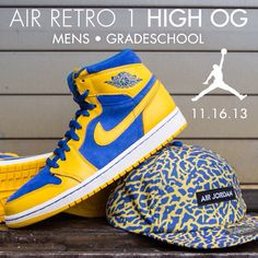 "Available 11.16.13- Air Jordan: Retro 1 High OG ""Laney"" (Mns, Gs) -  Varsity Maize/Game Royal and Jordan Legacy strapback #jimmyjazz #trendingnow #jordan #retro1 #laney #legacy #og jimmyjazz.com"