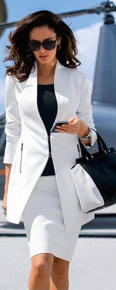 MADELEINE Long White Blazer