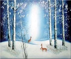 snow mural | Snow Forest in Moonlight Animal, Deer Impressionism Oil Painting ...