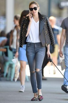 Olivia Palermo wearing Le Specs Halfmoon Magic Sunglasses, Rebecca Minkoff Pearl Embellished Wes Moto Jacket, Black Orchid Jeans Gisele Jeans in Never Too Slate and Alexander McQueen Floral-Embroidered Satin Smoking Slippers