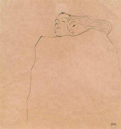 Egon Schiele Sleeping Couple 1909