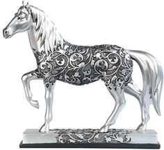 George S. Chen Imports SS-G-11678 Silver Toned Engraved Horse Trotting Statue, 7.25″ – Friendly Faces