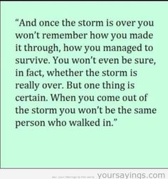 """""""And once the storm is over, you won't remember how you made it through, how you managed to survive. You won't even be sure, whether the storm is really over. But one thing is certain. When you come out of the storm, you won't be the same person who walked in."""