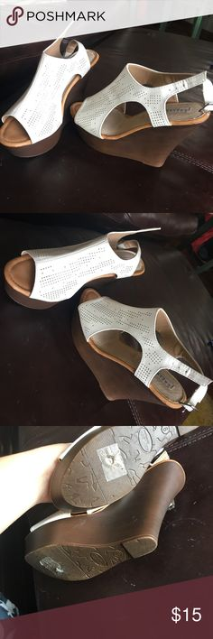 Really cute white wedges Really cute white wedges. Worn once Shoes Wedges