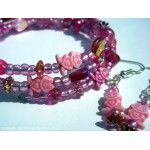 Frog Bracelet and Earrings Set Pink Adult Size Handmade