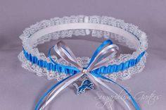Detroit Lions Lace Wedding Garter Set - Sugarplum Garters