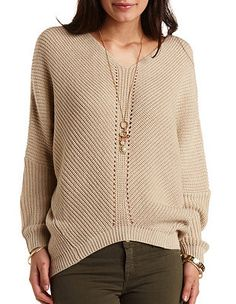 Pointelle Cocoon Pullover Sweater: Charlotte Russe